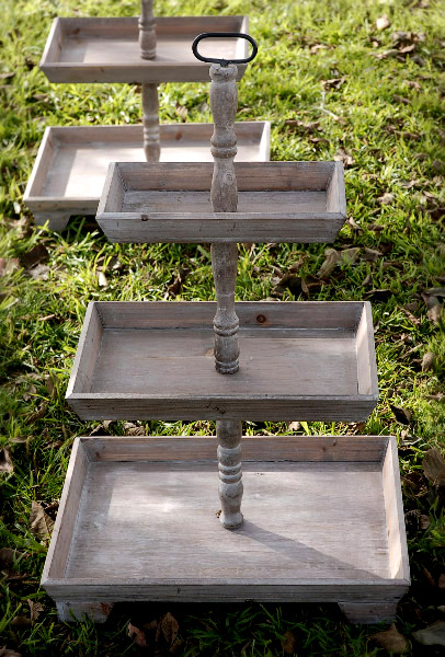 Wooden Tiered Stand ~ Tier rustic wood stand set of