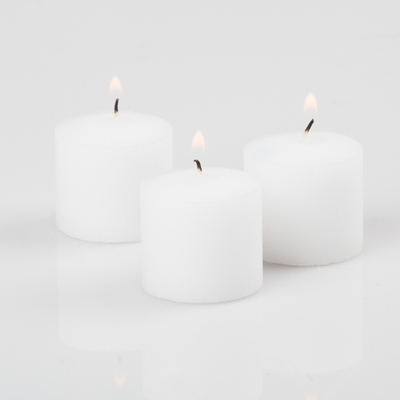 Set of 12 Unscented White Votive Candles 10hr