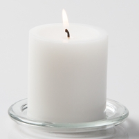 Unscented 3in White Pillar Candles
