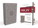 NKJV Thinline Bible, Large Print (Cloth over Board, Gray/Pink - Case of 16)
