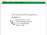 Discovery Interrogatory Index Tabs