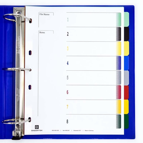 Durable Plastic Multicolor Index Tab Dividers 1 8 Set