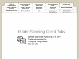 Estate Planning Index Tabs for Clients and Personal Use