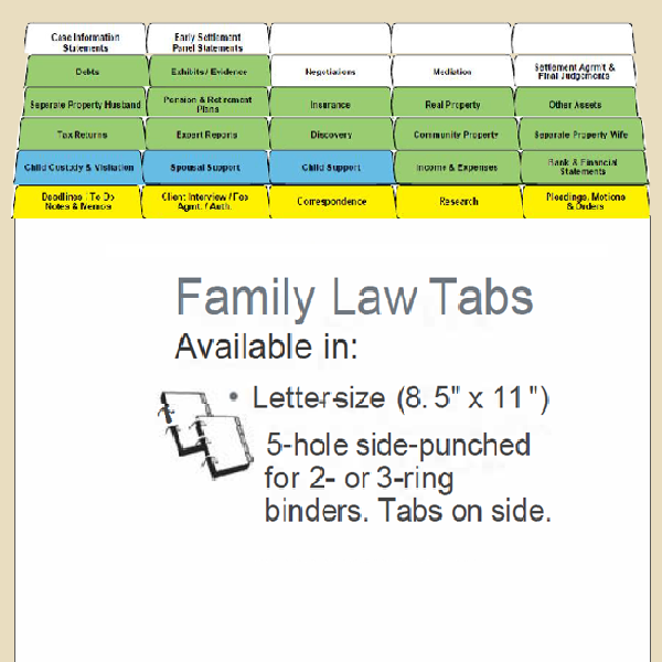 Family Law Index Tabs