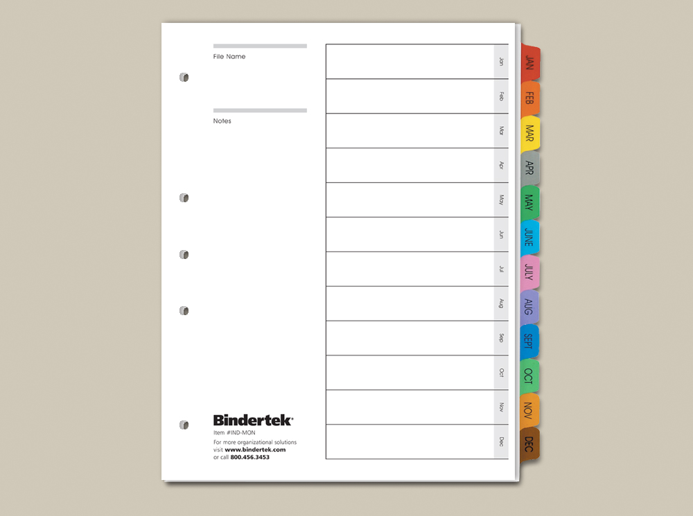 Calendar Index Tabs | Bindertek