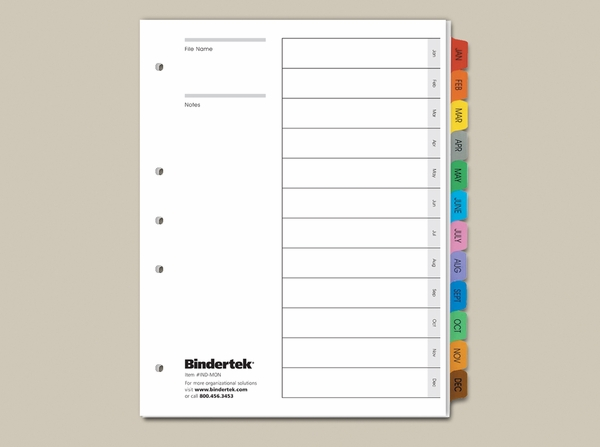 January December Monthly Index Tabs Bindertek