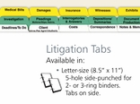 Litigation Case File Index Tabs Letter Size