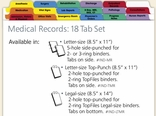 Medical Records Index Tabs: 18 Tab Set