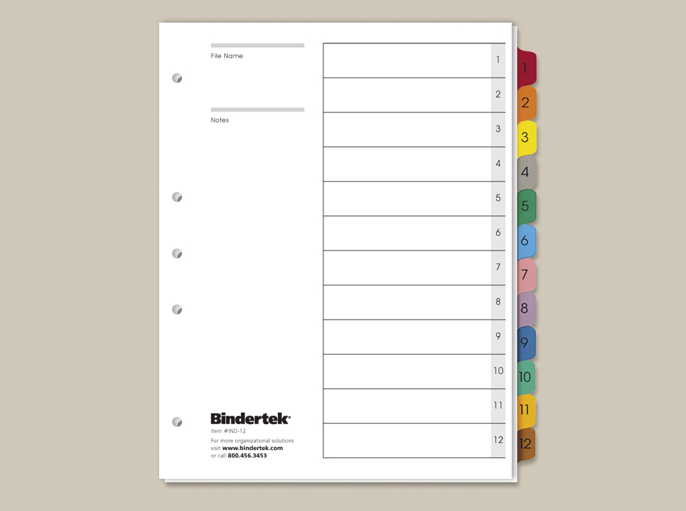Multicolor numeric index tabs 1 12 set bindertek for 12 tab divider template