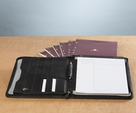Leather Zipper Deposition Padfolio with Refills