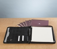 Leather Zipper Lined Padfolio with Refills