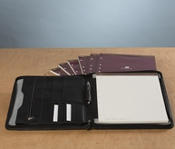 Leather Zipper Timeline Padfolio with Refills