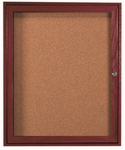 1 Door Enclosed Bulletin Board with Cherry Finish - 36''H x 30''W [CBC3630R-AA]