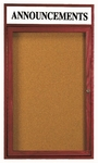 1 Door Enclosed Bulletin Board with Header and Cherry Finish - 24''H x 18''W [CBC2418RH-AA]