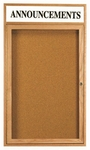 1 Door Enclosed Bulletin Board with Header and Oak Finish - 24''H x 18''W [OBC2418RH-AA]