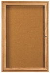 1 Door Enclosed Bulletin Board with Oak Finish - 24''H x 18''W [OBC2418R-AA]