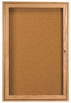 1 Door Enclosed Bulletin Board with Oak Finish - 36''H x 24''W [OBC3624R-AA]