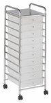 10 Drawer Mobile Organizer with Chrome-Plated Top Shelf and White Pullout Drawers [ELR-009-WH-ECR]