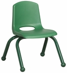 10''H Vented Back Stacking Chair with Matching Legs and Ball Glides - Green [ELR-2192-GN-ECR]