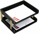 Classic Leather Double Side-Load Letter Trays with Gold Posts - Black [A1072-FS-DAC]