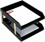 Classic Leather Double Front Load Letter Size Trays with Gold Posts - Black [A1020-FS-DAC]