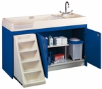 1000 Series 37''H Walk Up Toddler Changing Storage Center with Sink on Left [8520A-TOT]