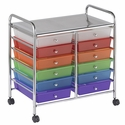 12 Drawer Mobile Organizer with Chrome-Plated Top Shelf and Assorted Colors Pullout Drawers