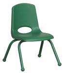 12''H Vented Back Stacking Chair with Matching Legs and Ball Glides - Green [ELR-2193-GN-ECR]