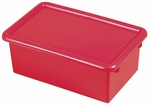 Stackable Heavy Duty Polypropylene Plastic Storage Tubs with Lids - Red [ELR-0102-RD-ECR]