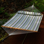 Water Repellent Quick Dry 13' Polyester Hammock with Matching Pillow - Green and Grey Stripe [2789W74SPC-FS-ALG]