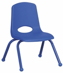 14''H Vented Back Stacking Chair with Matching Legs and Ball Glides - Blue [ELR-2194-BL-ECR]