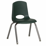 14''H Vented Back Stacking Chair with Chrome Legs and Nylon Swivel Glides - Hunter Green [ELR-0194-HGG-ECR]
