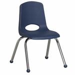 14''H Vented Back Stacking Chair with Matching Seat and Ball Glides with Chrome Legs - Navy [ELR-0194-NV-ECR]