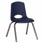 14''H Vented Back Stacking Chair with Chrome Legs and Nylon Swivel Glides - Navy [ELR-0194-NVG-ECR]