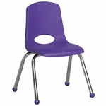 14''H Vented Back Stacking Chair with Matching Seat and Ball Glides with Chrome Legs - Purple [ELR-0194-PU-ECR]