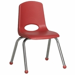 14''H Vented Back Stacking Chair with Matching Seat and Ball Glides with Chrome Legs - Red [ELR-0194-RD-ECR]