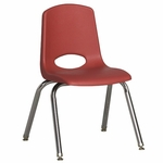 14''H Vented Back Stacking Chair with Chrome Legs and Nylon Swivel Glides - Red [ELR-0194-RDG-ECR]