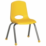 14''H Vented Back Stacking Chair with Matching Seat and Ball Glides with Chrome Legs - Yellow [ELR-0194-YE-ECR]