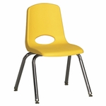 14''H Vented Back Stacking Chair with Chrome Legs and Nylon Swivel Glides - Yellow [ELR-0194-YEG-ECR]