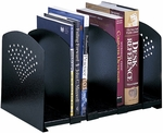 15.5'' W x 9'' D x 9.25'' H Five Section Adjustable Book Rack - Black [3116BL-FS-SAF]