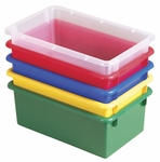 15 Pack Heavy Duty Stack and Store Tubs - Assorted Colors - 13.5''W x 8.5''D x 5.25''H [ELR-20505-AS-ECR]
