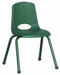 16''H Vented Back Stacking Chair with Matching Legs and Ball Glides - Green [ELR-2195-GN-ECR]