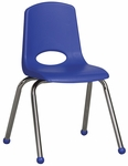 16''H Vented Back Stacking Chair with Matching Seat and Ball Glides with Chrome Legs - Blue [ELR-0195-BL-ECR]