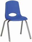 16''H Vented Back Stacking Chair with Chrome Legs and Nylon Swivel Glides - Blue [ELR-0195-BLG-ECR]