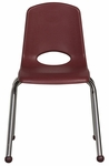16''H Vented Back Stacking Chair with Matching Seat and Ball Glides with Chrome Legs - Burgundy [ELR-0195-BY-ECR]