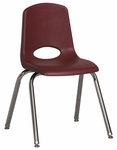 16''H Vented Back Stacking Chair with Chrome Legs and Nylon Swivel Glides - Burgundy [ELR-0195-BYG-ECR]