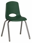 16''H Vented Back Stacking Chair with Chrome Legs and Nylon Swivel Glides - Green [ELR-0195-GNG-ECR]