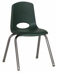 16''H Vented Back Stacking Chair with Chrome Legs and Nylon Swivel Glides - Hunter Green [ELR-0195-HGG-ECR]