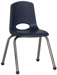 16''H Vented Back Stacking Chair with Matching Seat and Ball Glides with Chrome Legs - Navy [ELR-0195-NV-ECR]