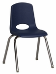 16''H Vented Back Stacking Chair with Chrome Legs and Nylon Swivel Glides - Navy [ELR-0195-NVG-ECR]